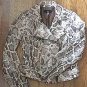 Faux Leather Snakeskin Moto Jacket